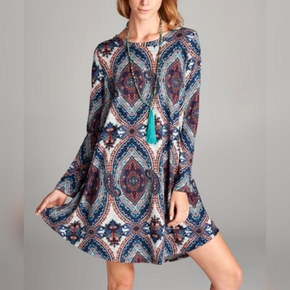 Love Kuza Dresses & Skirts - Love Kuza Medallion Print Swing Dress